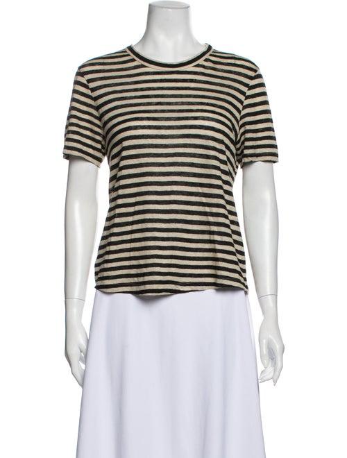 A.l.c. Linen Striped T-Shirt Black
