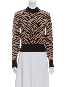 A.L.C. Animal Print Mock Neck Sweater