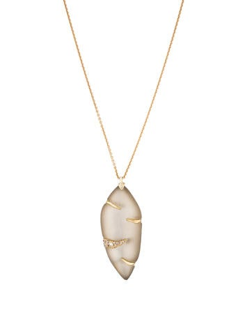 Carved Lucite Pendant Necklace