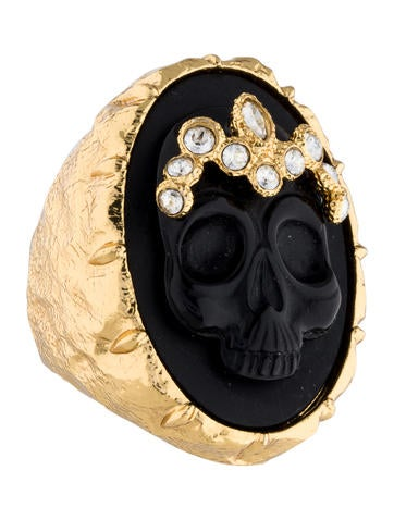 Elements D'Ore Black Agate & Crystal Skull Cameo Cocktail Ring