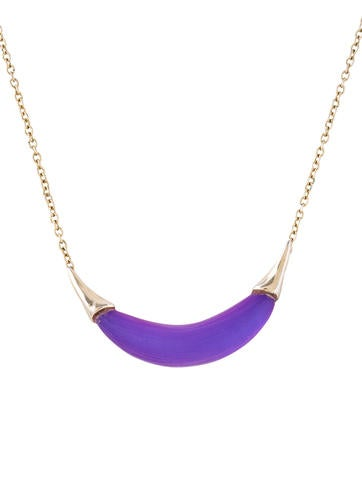 Alexis Bittar Capped Crescent Pendant Necklace None