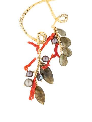 Alexis Bittar Labradorite & Coral Pendant Necklace
