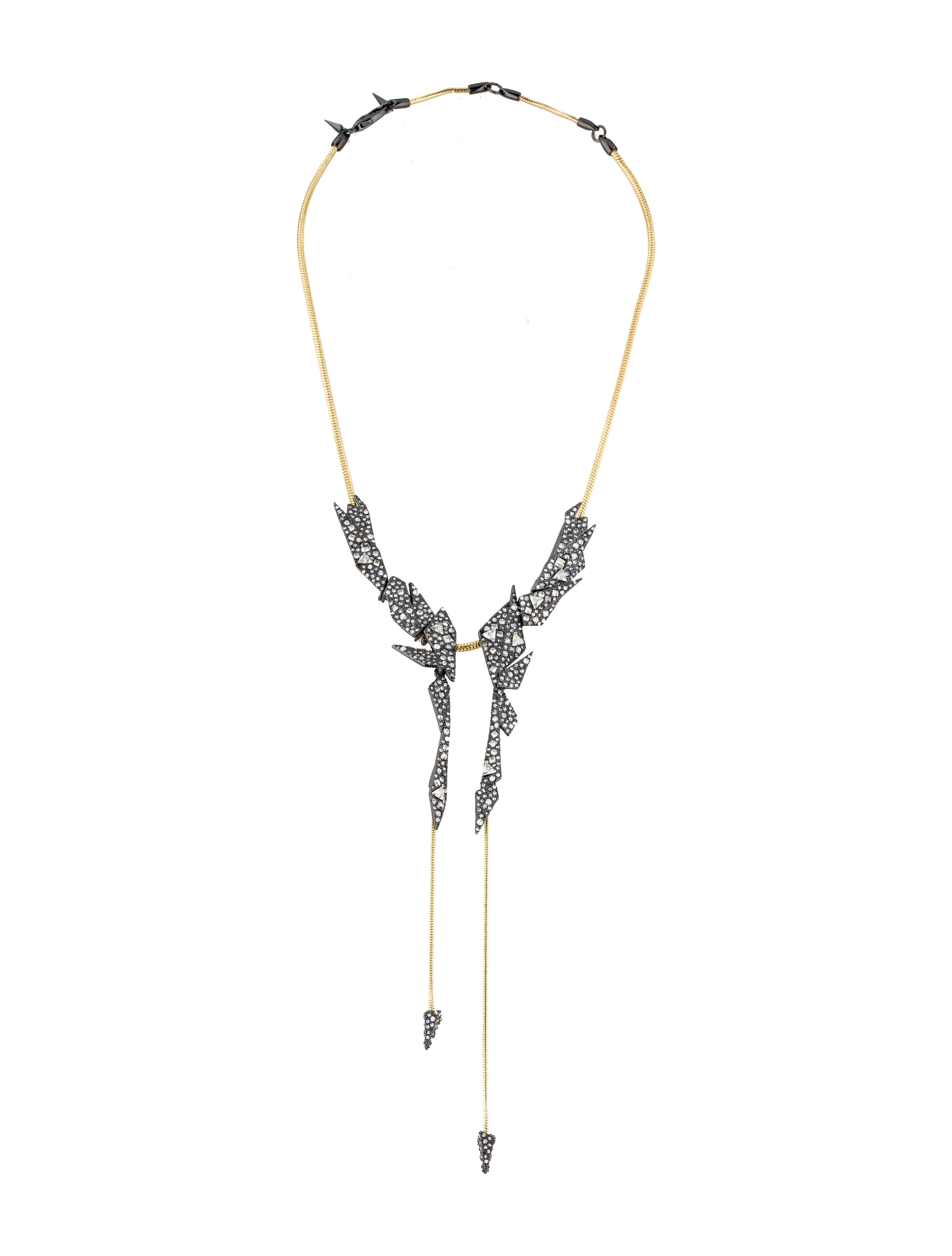 Alexis Bittar Crystal Origami Bib Necklace Kld2JQ7