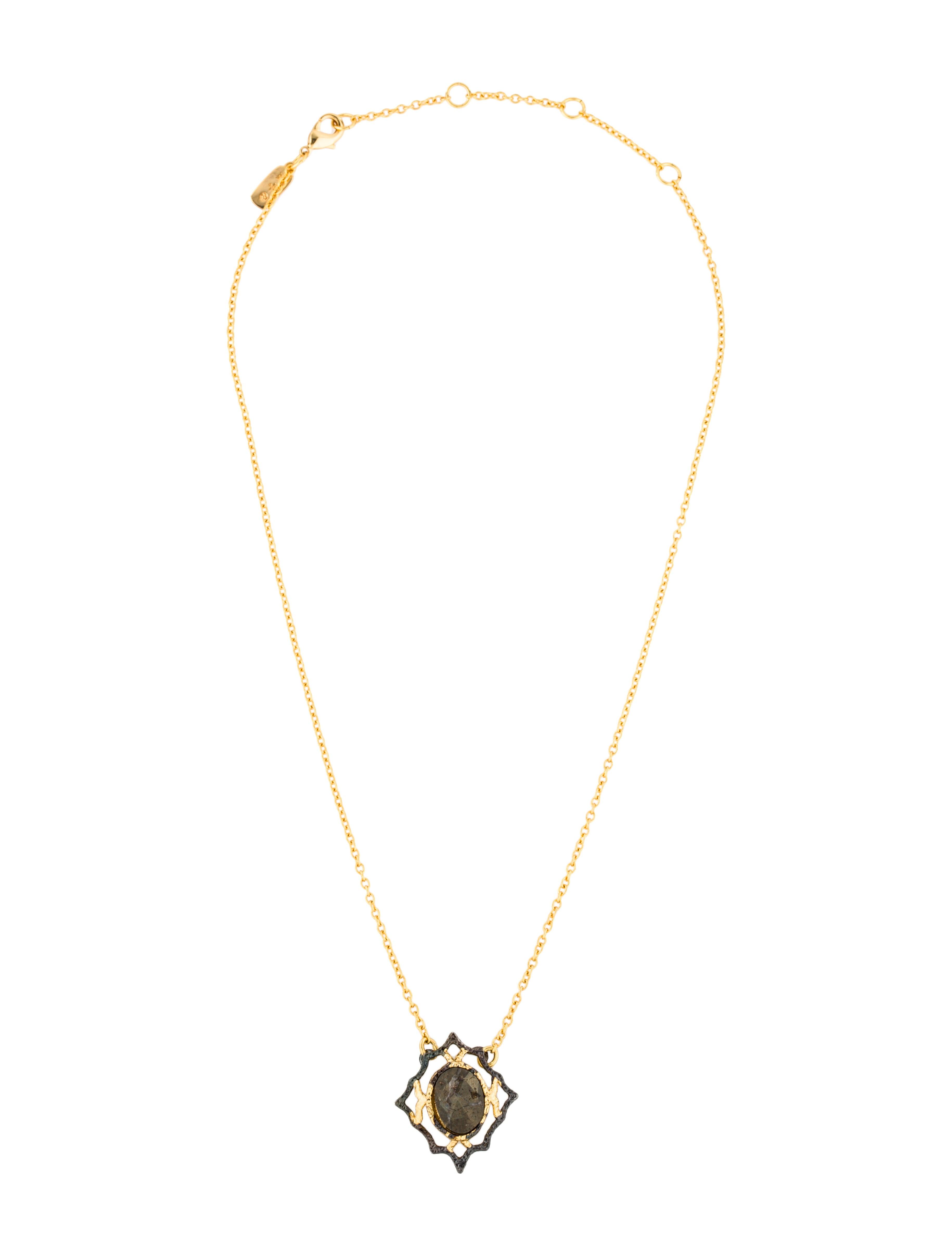 Alexis bittar pyrite jardin de papillon lace pendant for Jardin necklace