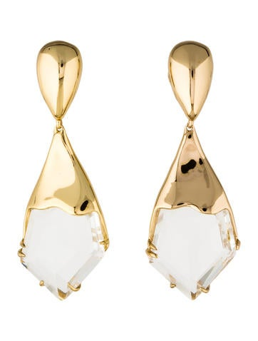 Alexis Bittar Liquid Crystal Jagged Broken Glass Clip-On Earrings None