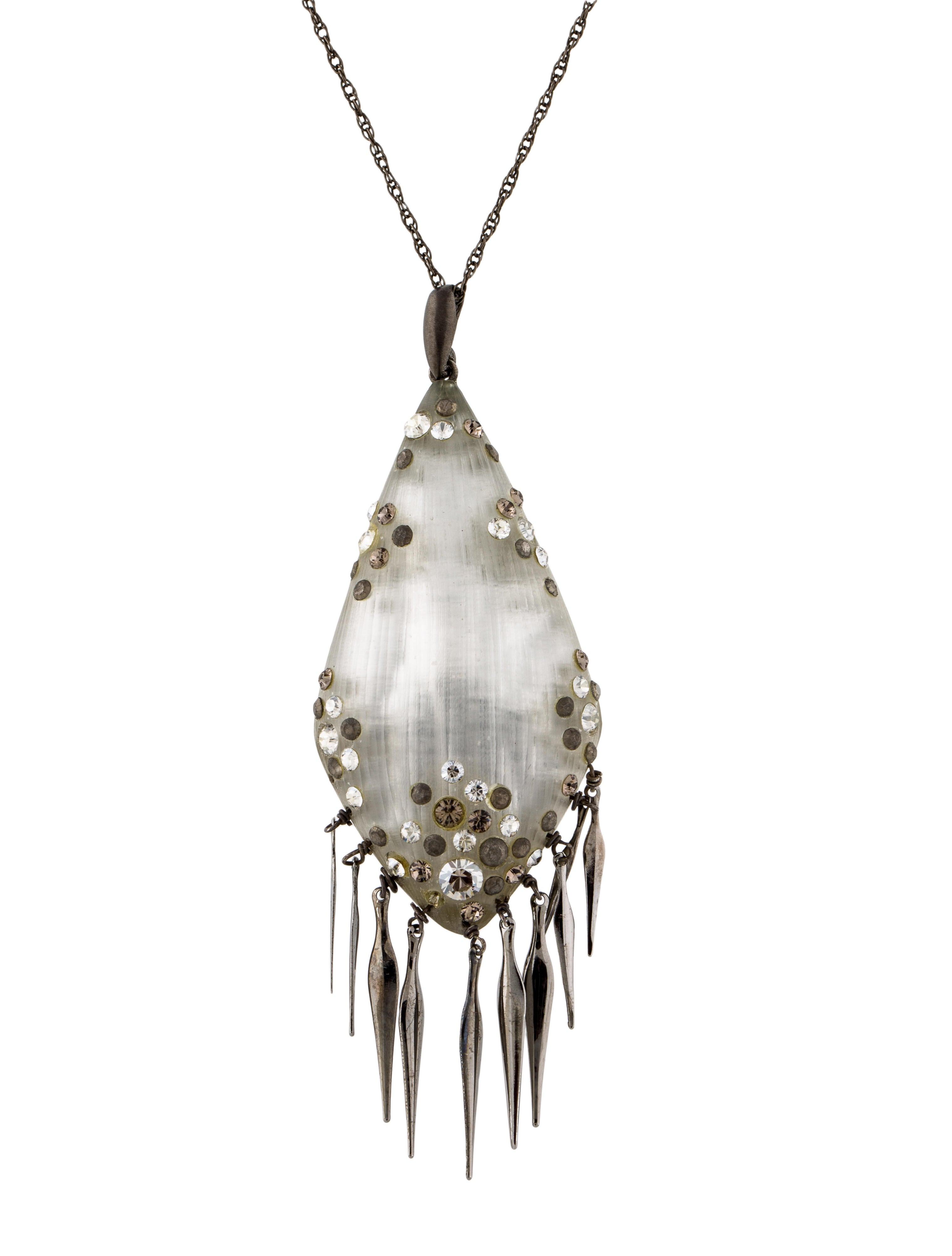 alexis bittar crystal lucite tassel pendant necklace necklaces