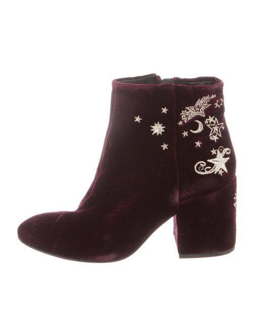 Ash Elixir Embroidered Accent Boots Red