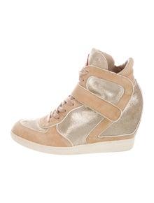 Ash Suede Colorblock Pattern Wedge Sneakers