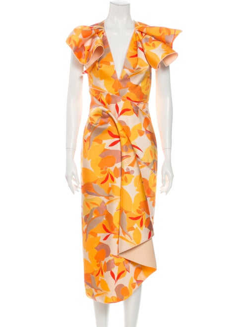 Acler Floral Print Midi Length Dress Yellow