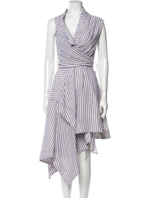 Acler Striped Midi Length Dress White