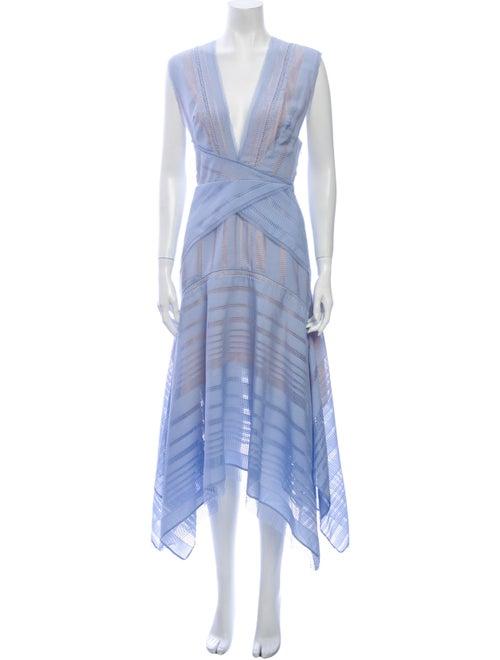 Acler V-Neck Long Dress Blue