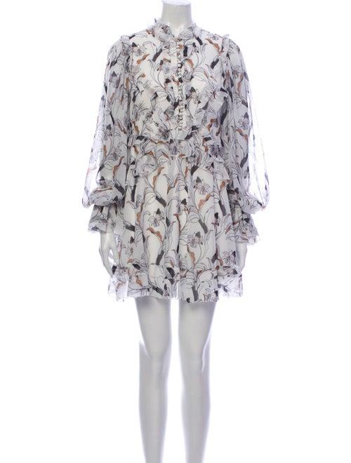Acler Floral Print Mini Dress White