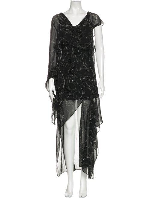 Acler Printed Long Dress Black