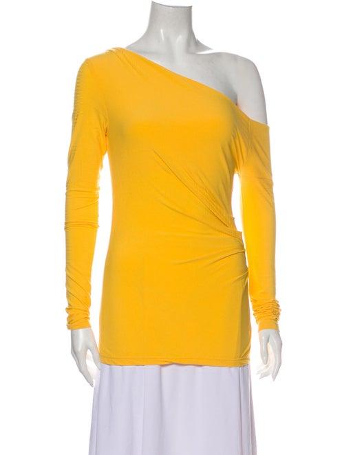 Acler One-Shoulder Long Sleeve Top Orange