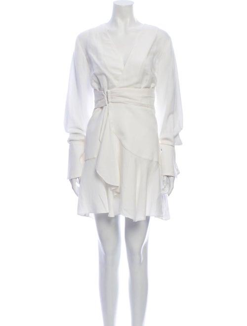 Acler V-Neck Mini Dress White