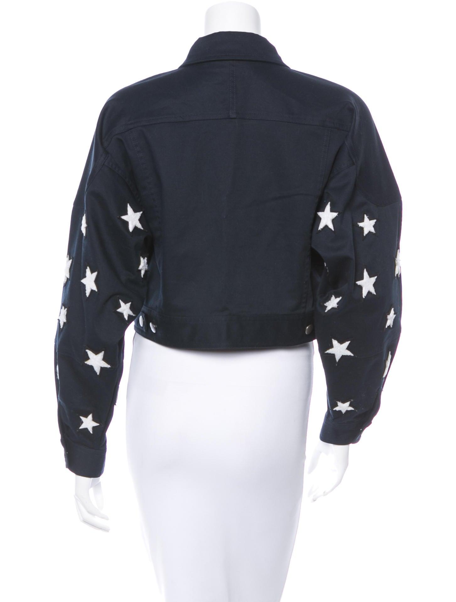 Adam Selman Star Appliqu 233 Denim Jacket Clothing