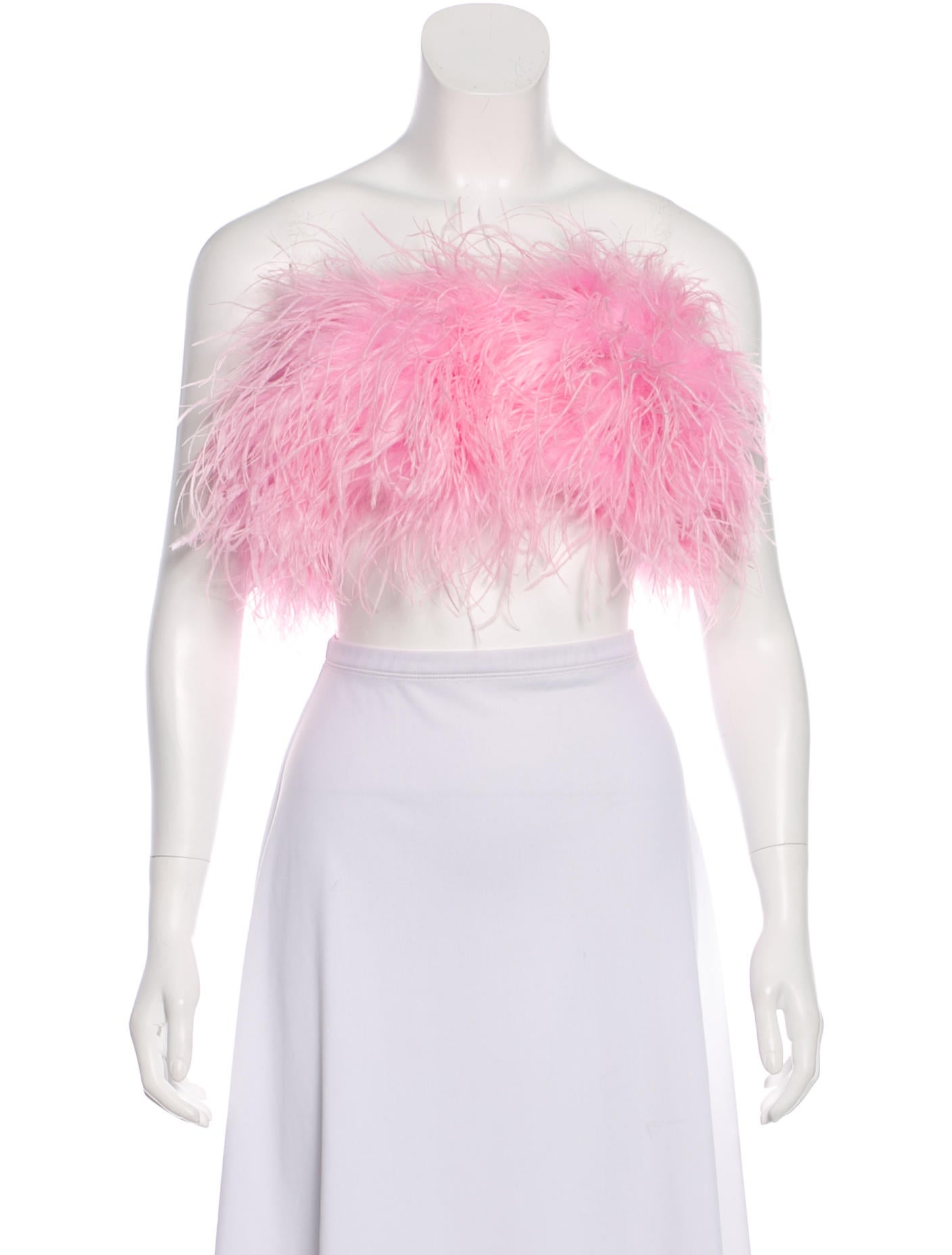 b4efc2adfc Adam Selman 2018 Ostrich Feather Bandeau Top - Clothing - WADMS20192 ...