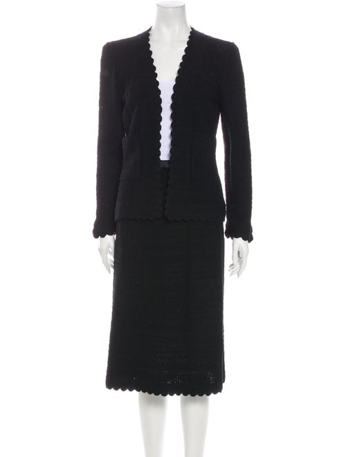 Adolfo Wool Scalloped Accent Skirt Suit Wool