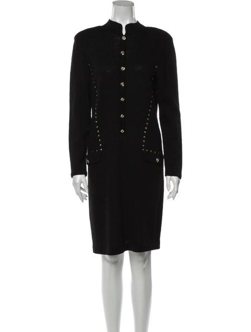 Adolfo Vintage Knee-Length Dress Black