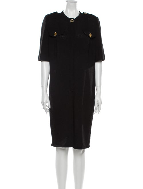 Adolfo Crew Neck Knee-Length Dress Black