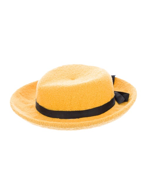 Adolfo Woven Wide Brim Hat Yellow