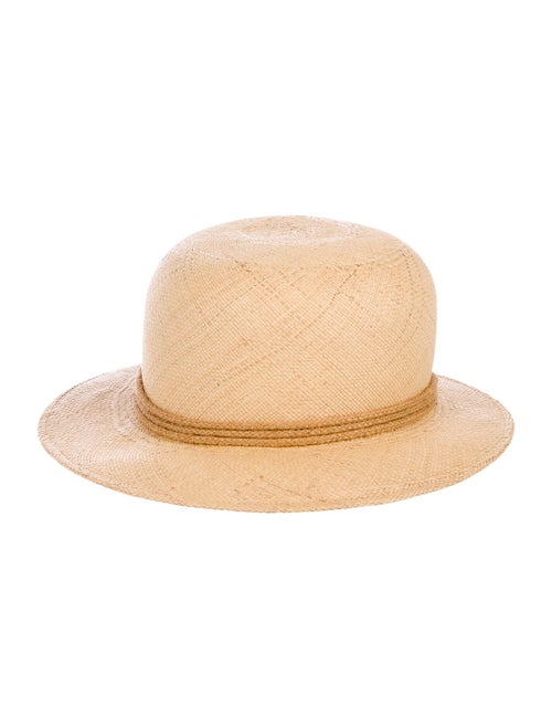 Adolfo Straw Wide Brim Hat Tan