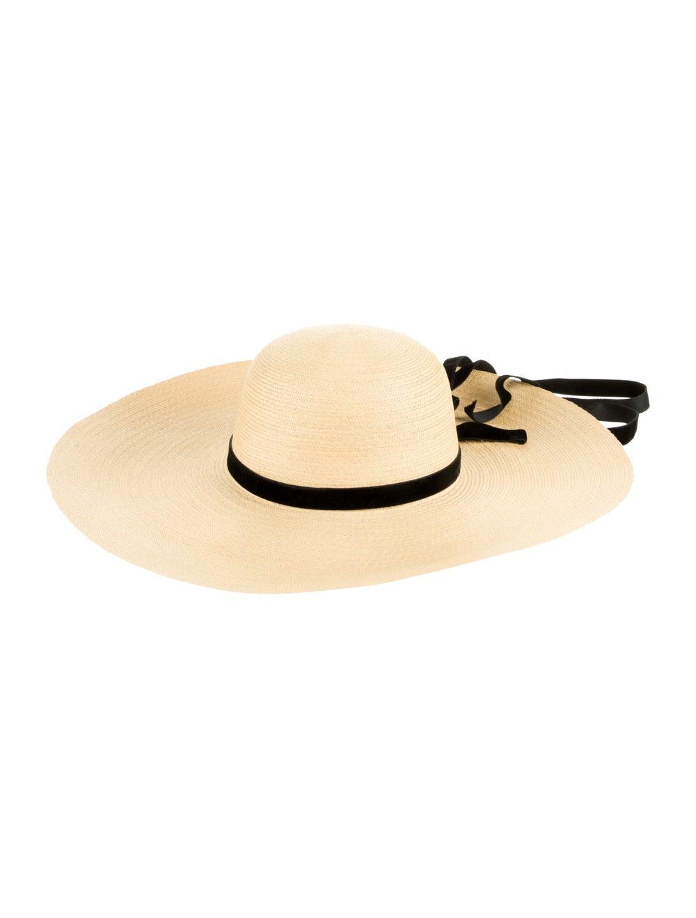 Adolfo Straw Wide Brim Hat Tan - image 1