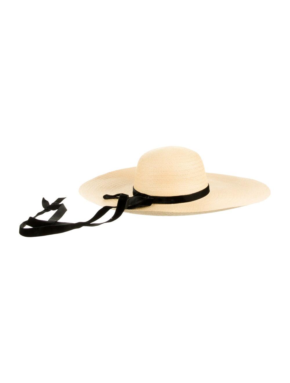Adolfo Straw Wide Brim Hat Tan - image 2