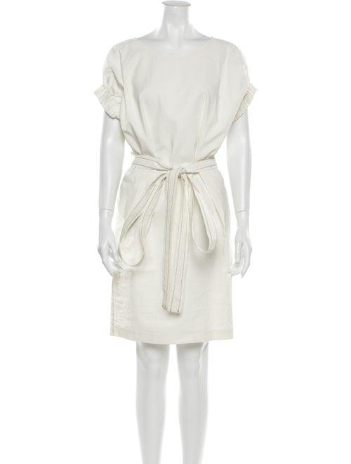 Áeron Linen Knee-Length Dress White
