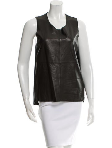 Allude Leather-Paneled Sleeveless Top w/ Tags None
