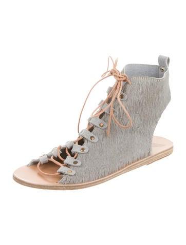 Ponyhair Lace-Up Sandals