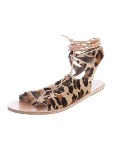 Ancient Greek Sandals Leopard Printed Ponyhair Sandals