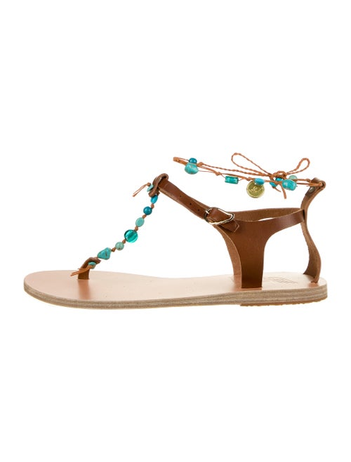 Ancient Greek Sandals Leather Beaded Accents T-Str
