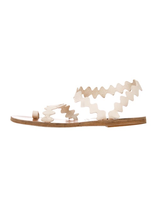 Ancient Greek Sandals Leather Scalloped Accent San