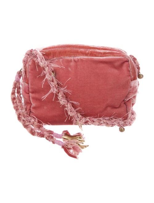 Ancient Greek Sandals Velvet Crossbody Bag Pink