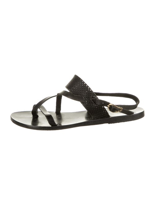 Ancient Greek Sandals Leather Slingback Sandals Bl