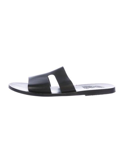 Ancient Greek Sandals Leather Cutout Accent Slides