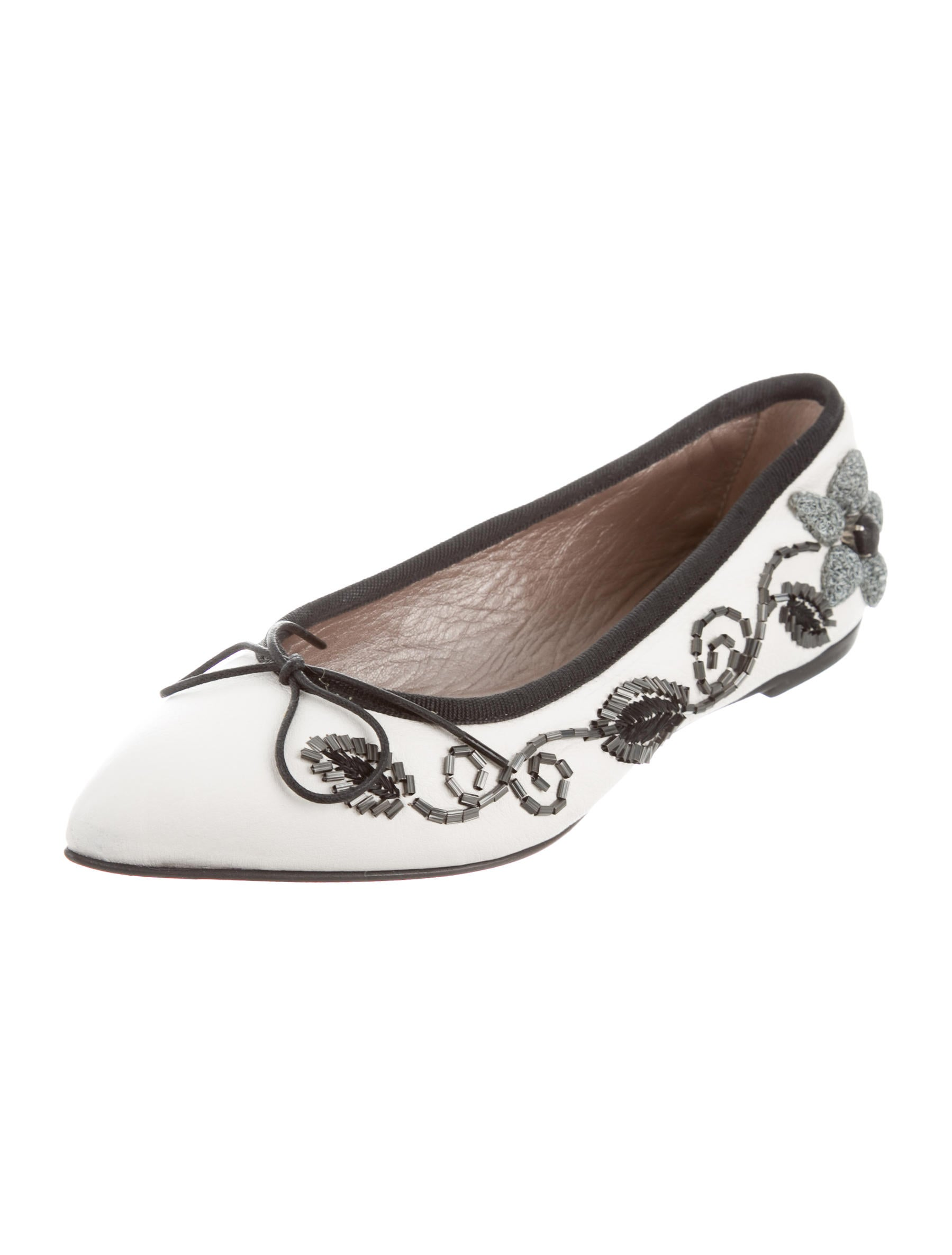 AGL Leather Bead-Embellished Flats w/ Tags outlet collections WyOxj