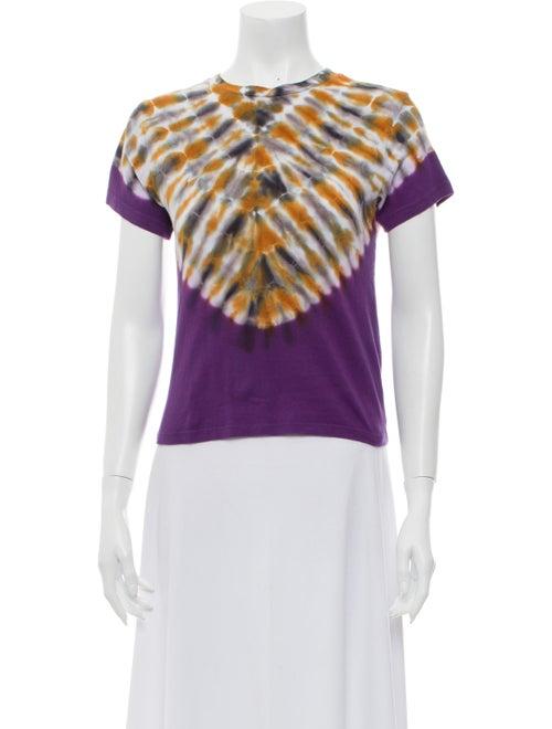 Agolde Tie-Dye Print Crew Neck T-Shirt Purple