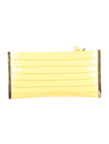 Pleated Patent Leather Clutch