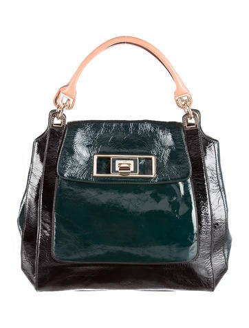 Two-Tone Patent Leather Tote