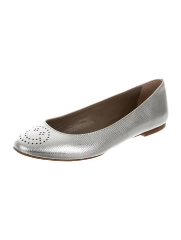 Metallic Leather Flats