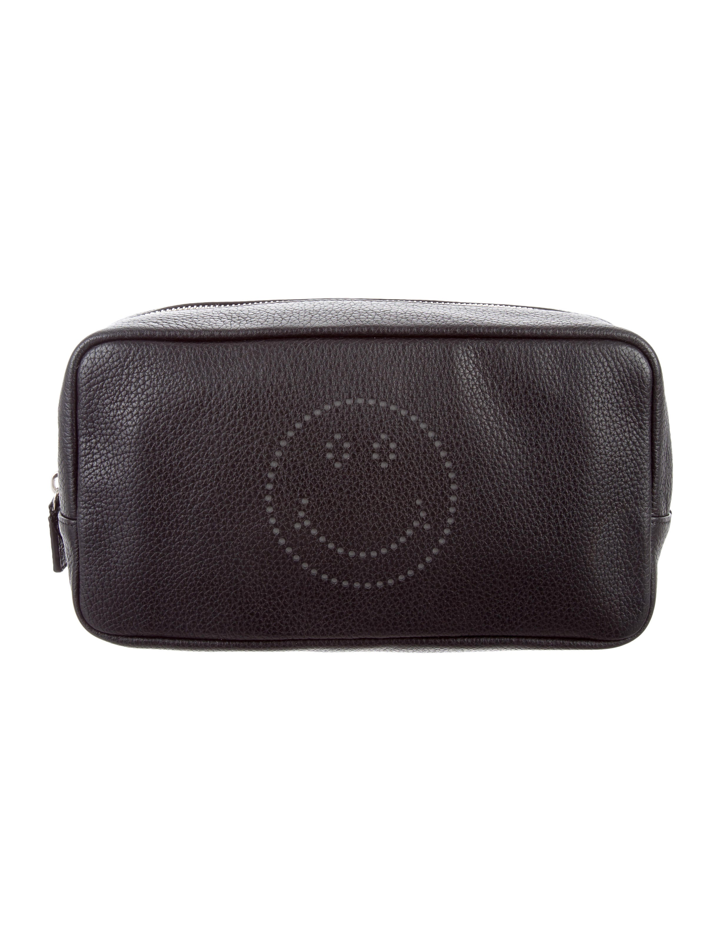 Perforated Smiley Leather Toiletry Bag W Tags