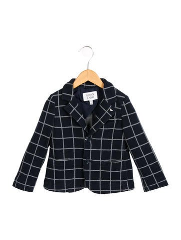 Armani Junior Boys' Check Patterned Knit Blazer w/ Tags None
