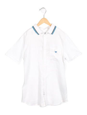 Armani Junior Boys' Linen Button-Up Shirt w/ Tags None
