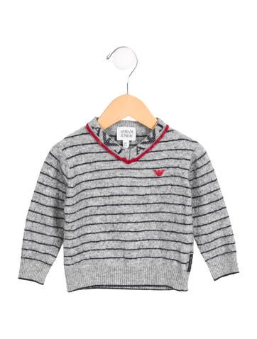 Armani Junior Boys' Striped V-Neck Sweater None