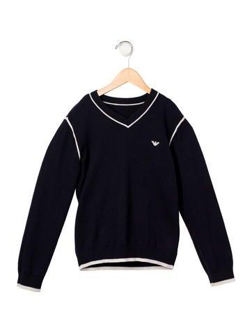 Armani Junior Boys' Wool Blend Rib Knit Sweater None