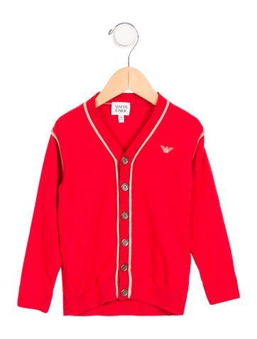 Armani Junior Boys' Logo Knit Cardigan None