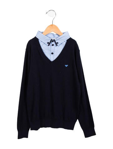 Armani Junior Boys' Layered V-Neck Sweater None