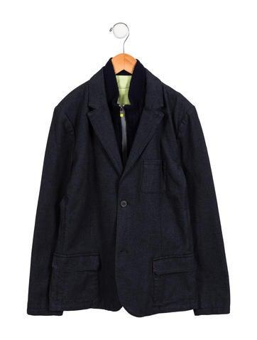 Armani Junior Boys' Wool-Paneled Notch-Lapel Blazer None